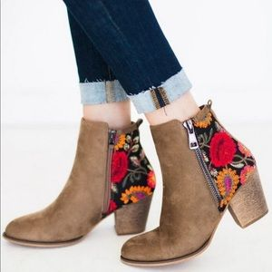 Vegan Suede Taupe Embroidered Floral Booties